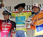 Le podium final du Tour du Pays Basque 2008: Evans, Contador, Dekker