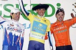 Le podium final de la Vuelta al Pais Vasco 2009: Colom, Contador, Sanchez