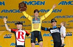 Le podium final du Tour of California 2011: Leipheimer, Horner, Danielson